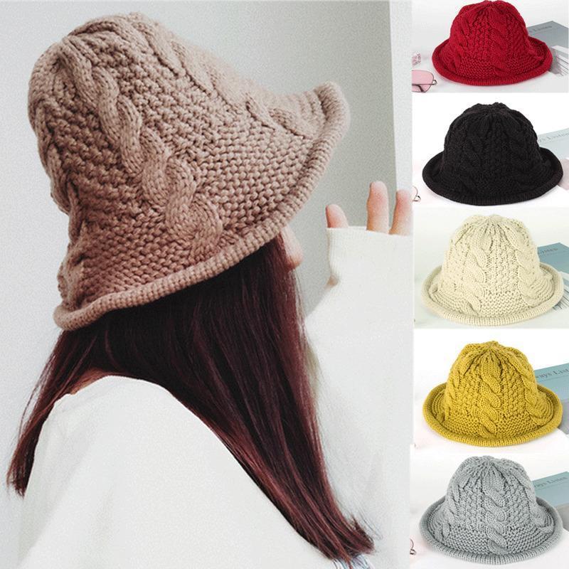 Kadınlar Sıcak Kış Bere Örgülü Baggy Örgü Tığ Beanie Şapka Kayak Cap Bere