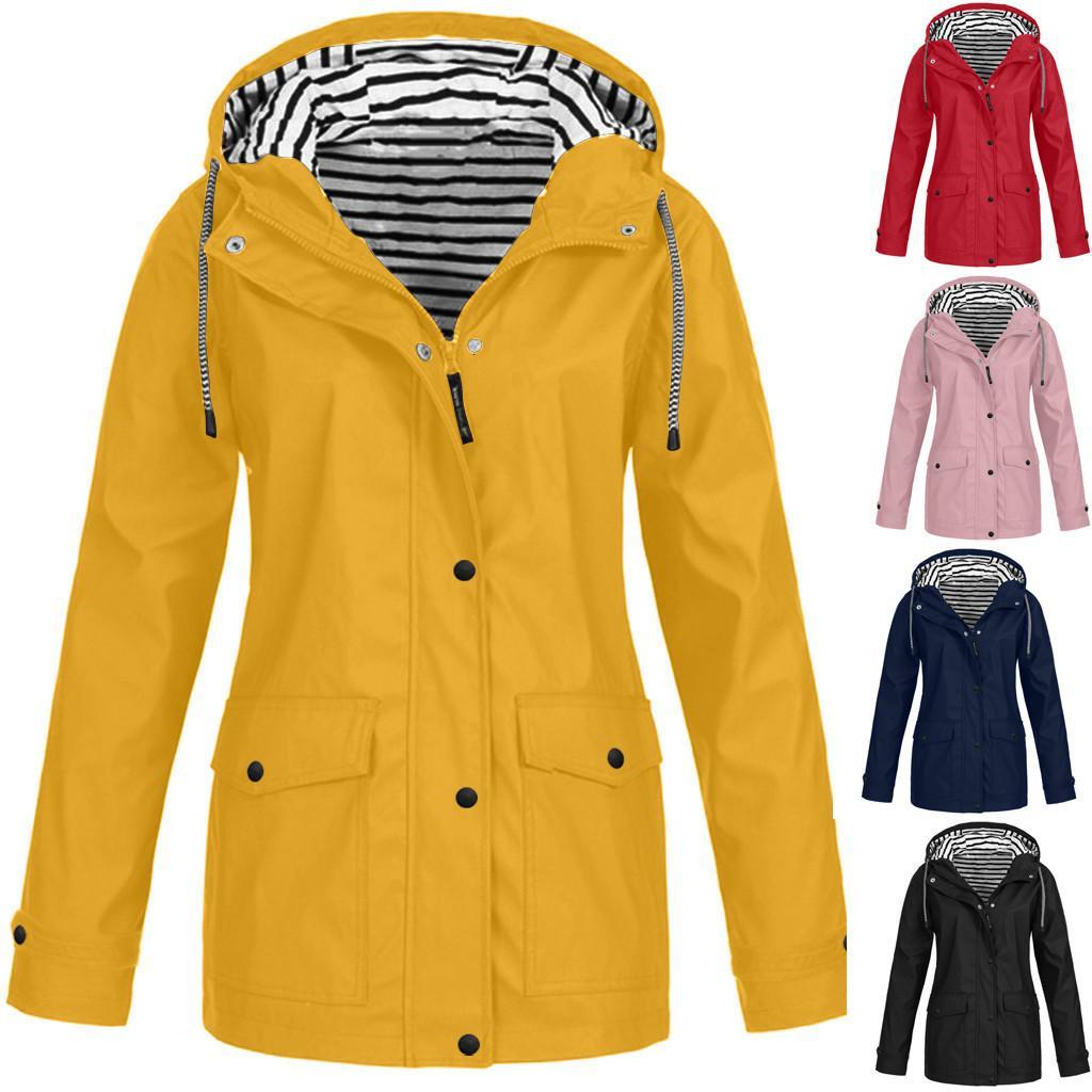 Winter Women's Overcoats Colorful Solid Rain Outdoor Plus Waterproof Hooded Raincoat Windproof Jacket Coat Veste En Jean Femme