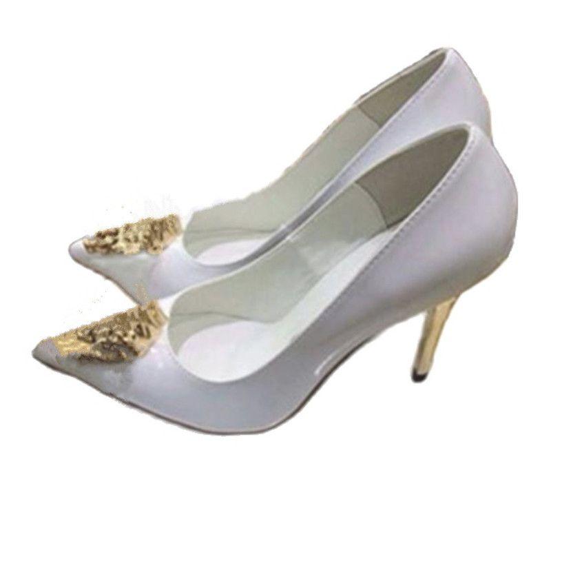 مصمم الأزياء ربيع الخريف أشار تو أحذية الذهب العمل مكتب السيدات رئيس ارتفاع كعب أسود أبيض براءات الاختراع جلد طبيعي المرأة اللباس مضخات حجم 34-42