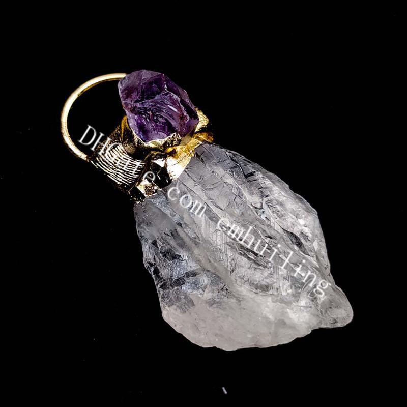 Freeform Natural Clear Quartz Rock Rock Gemstone Punto Gemstone Punto Pendente Guarigione Chakra Reiki caricato Crystal Crystal Pietra cruda Ametista Pendenti Elettroformate Protezione