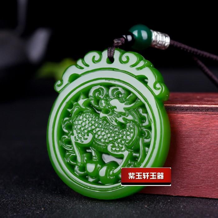 Moda verde jade kylin colgante collar joyería chino tallado a mano relajarse curando mujeres hombre suerte regalo amuleto nuevo