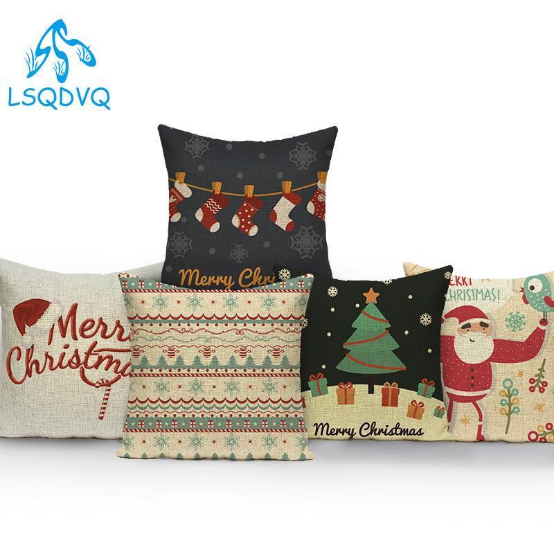 Cushion/Decorative Pillow Cotton Linen Santa Claus Cover Decorative Christmas Trees Deer Cute Cartoon Case Cushion For Sofa Home Decor