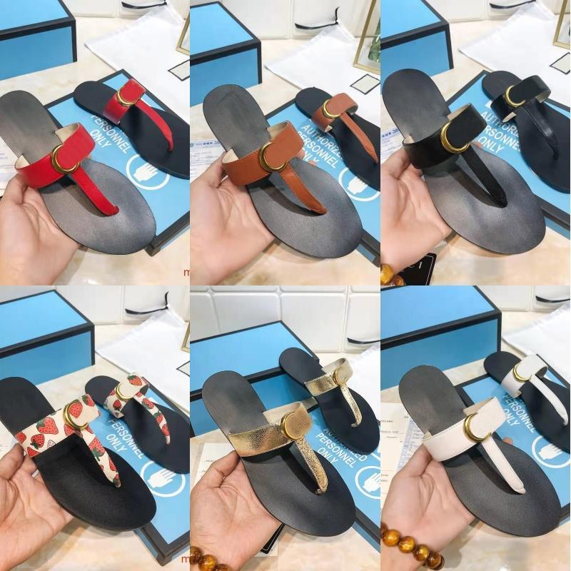 2021 Designer donna uomo Pantofole Slifts Gear Bottoms Flips Flops Donne Uomo Sandali di lusso Moda Causal Genuine Pelle Pulsante Metallo Pulsante Brand Flip Flop Dimensione 35-45
