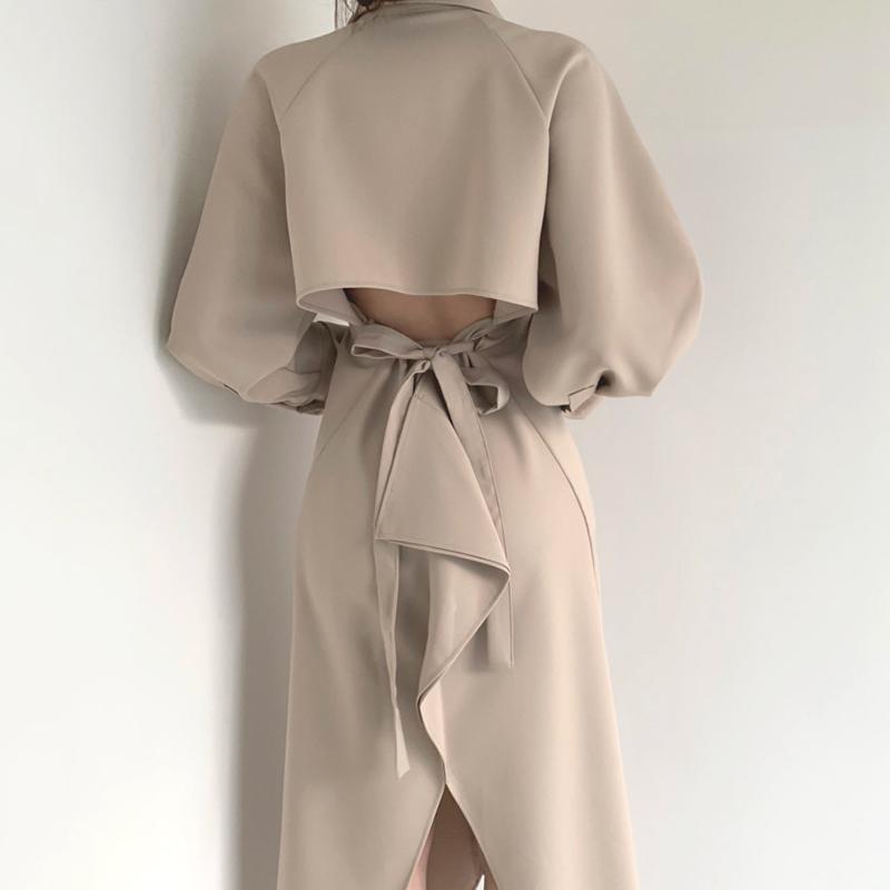 Vintage Bandage Shirt Robes Femme Chic Slim Slim Taille Coréen Collier Robe De Collier Femelle Khaki Solid Vestidos Printemps 2021 Casual