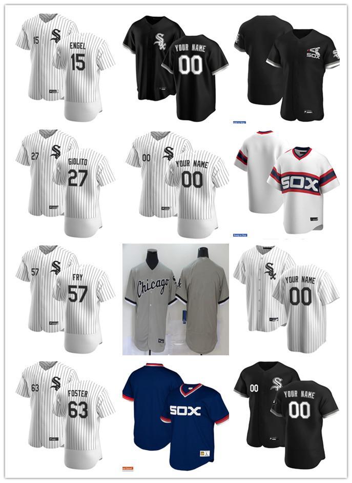 Homens mulheres juventude jerseyChicagoBrancoSox.15 Adam Engel 63 Matt Foster 57 Jace Fry 27 Lucas Giolito Custom Blank Black Branco Cinza