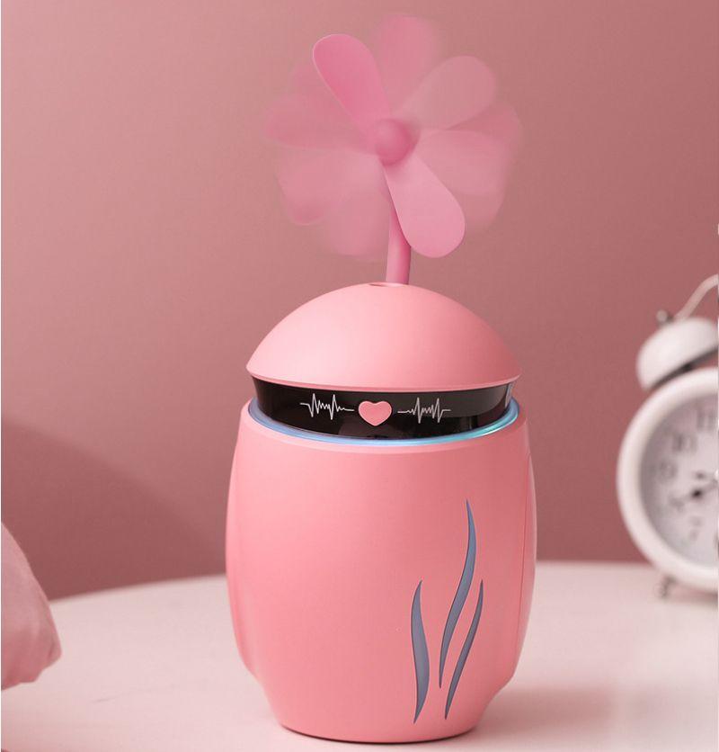 크리 에이 티브 3 in 1 LED 야간 조명 작은 Q 가습기 에센셜 디퓨저 아로마 램프 미니 USB 팬 아로마 테라피 공기 청정기 안개
