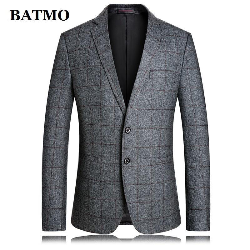 Men's Suits & Blazers BATMO 2021 Arrival Autumn High Quality Wool Plaid Casual Slim Blazer Men,male Suits,men's Jackets ,plus-size M-4XL 562