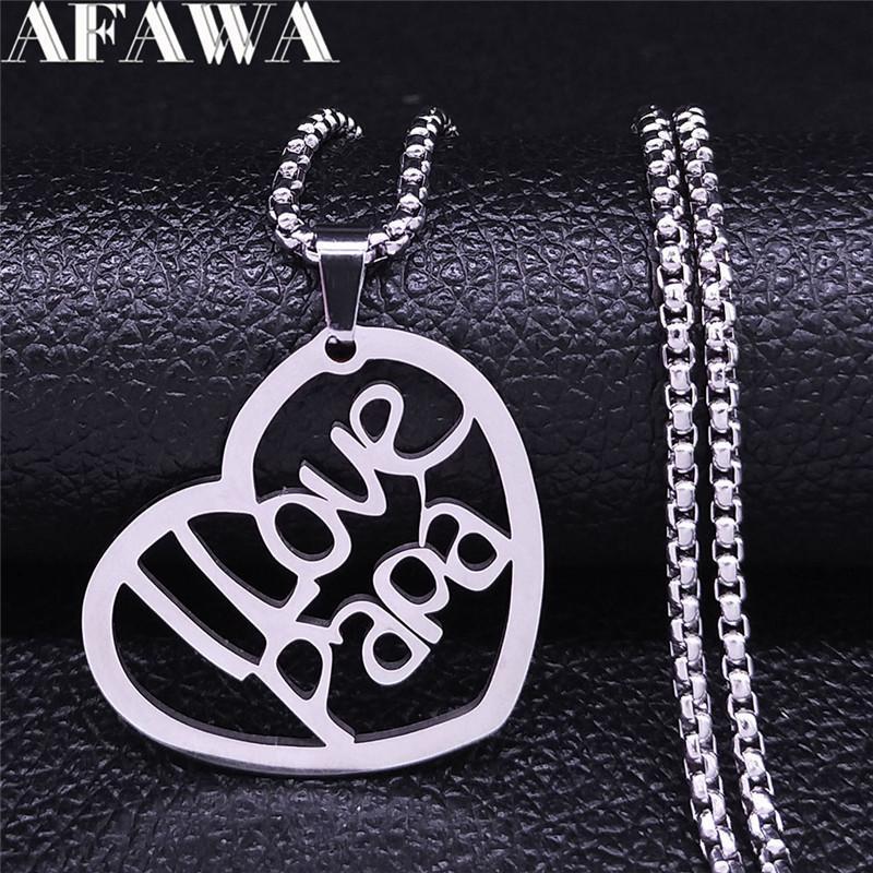 Liebe Papa Edelstahl Halsketten für Männer Silber Farbe Anhänger Halskette Schmuck Cadenas de Acero Vatertagsgeschenk NXS04