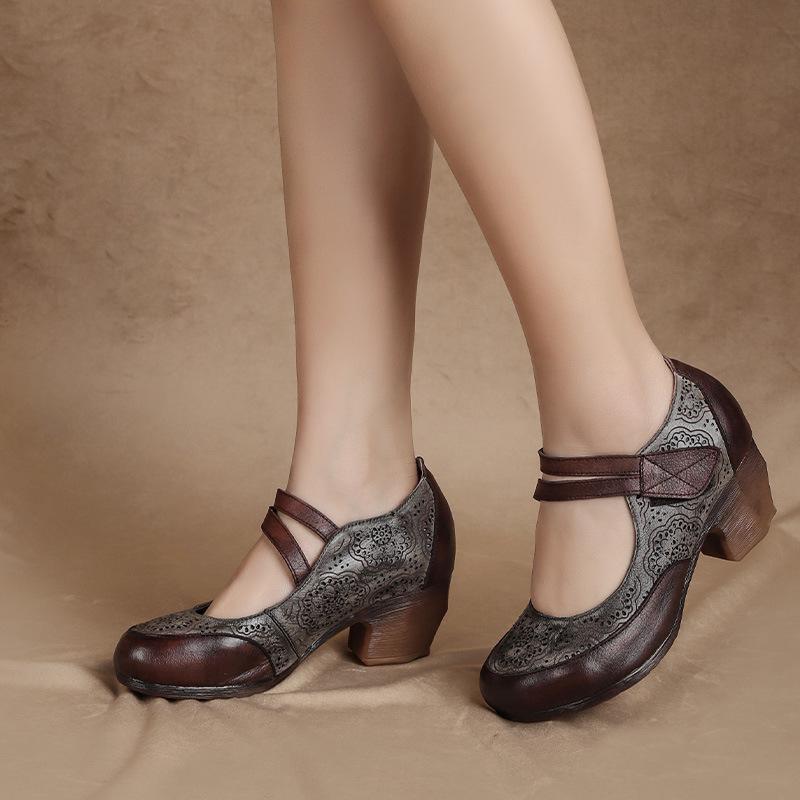 Kadın Deri Gri Nakış Için Yüksek Topuklu Mary Jane Ayakkabı Pompalar Hakiki Pompa Ayak Bileği Kayışı Shoe2021Handmade Elbise