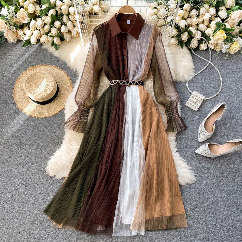 WAVSIIER Lüks A-line 2021 Boho Patchwork Sonbahar Zarif Kadın Elbiseler Parti Uzun Kollu Yüksek Bel Vintage Bahar Dantel