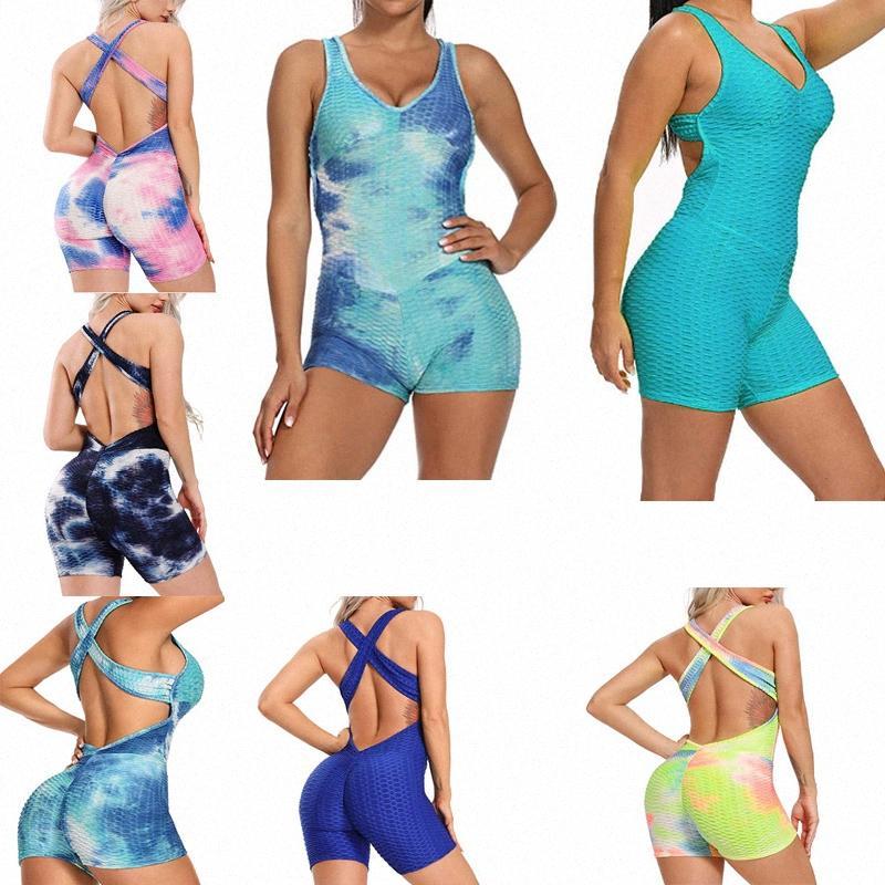 Femmes Sans entraînement de yoga Jumpse de Yoga Shorts une pièce Sexy Manches Sans Sans Sans levage Body Texture Bandage Romper PlaySuit X44P #