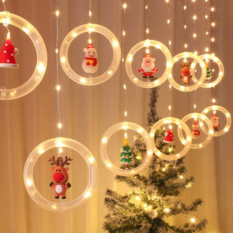 Strings Christmas Window Lights Novelty Xmas Hanging With USB Merry Curtain String LED