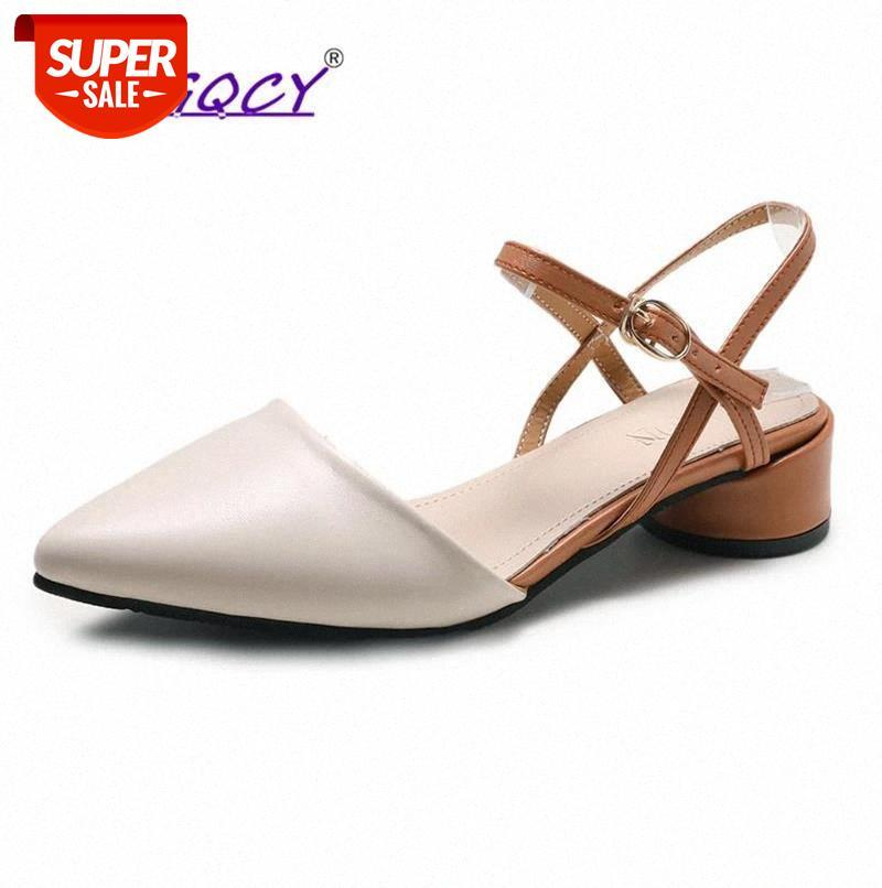 Soft Leather Mid heels Beige sandals women 2019 Summer shoes Fashion Pointed Buckle Strap pumps Casual #8f40