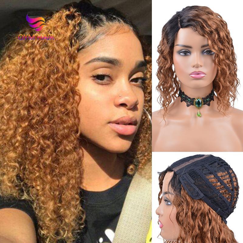 Kurze lockige menschliche Haarperücken für schwarze Frauen Remy Brasilianische Wasserwelle T-Teil Lace Ombre Bob Perücke