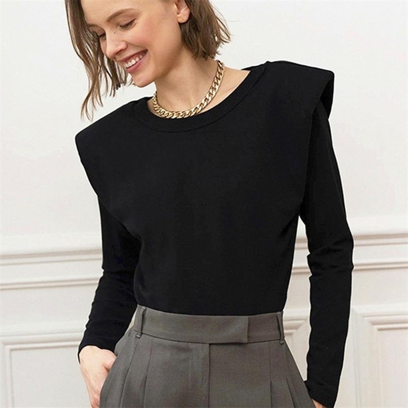 Роскошные колодки плечо элегантная леди блузка с длинным рукавом теплые хлопчатобумажные осенние бренд дизайнер топы рубашки женские блузка черная одежда 210415