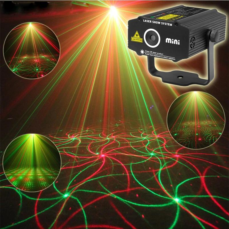 Mini LED Laser Projector Stage Lighting 4in1 Pattern Effect R&G Audio Star Whirlwind lamp Disco DJ Club Bar KTV Family Party Light