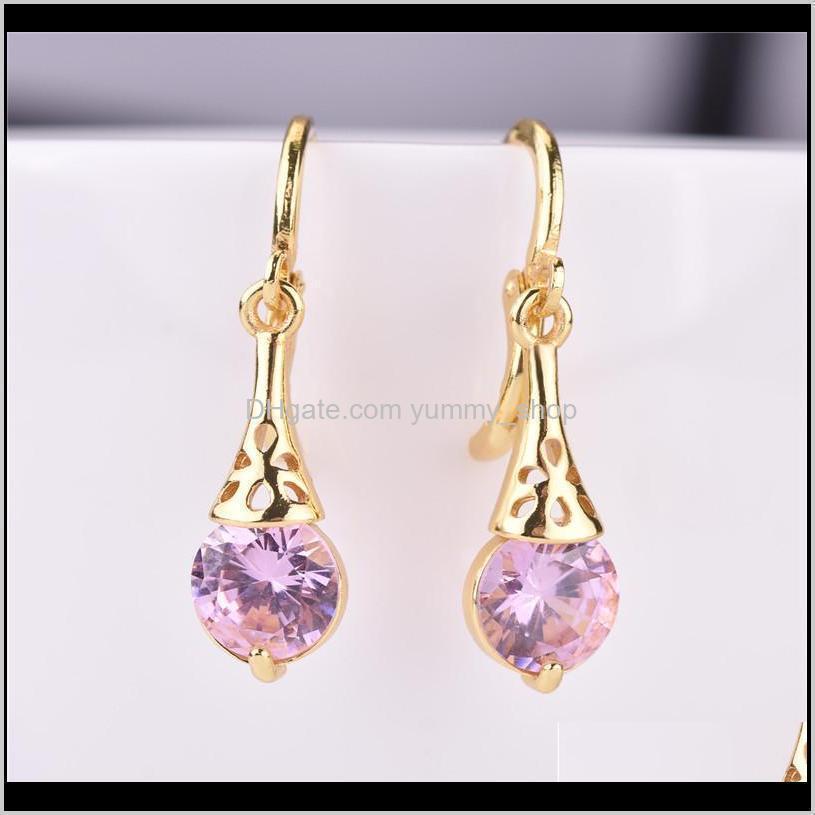 Vite di clip-retro arrivo oro placcato cz danghi orecchini per lady donne colorate crystal pietra clip su orecchini regalo gioielli rosa rosso g sleui