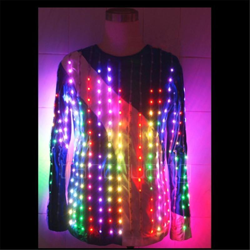 TC-38 Programming Led Light Costumes Ballroom Luminous Suit Wedding Stage Wears Clothing Party Singer Robot Mens Host Jacket Decoration