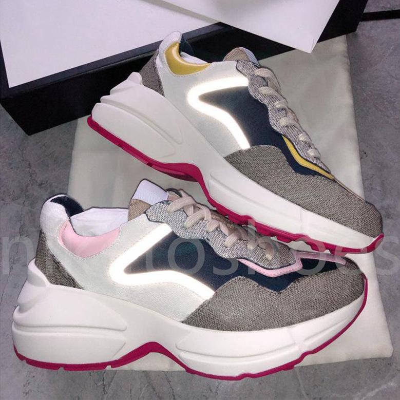 Италия Дизайнер Rhyton кроссовки мужские женские тренеры повседневные туфли 3M отражающие ткань и желтые кожаные отделки роскошные кроссовки
