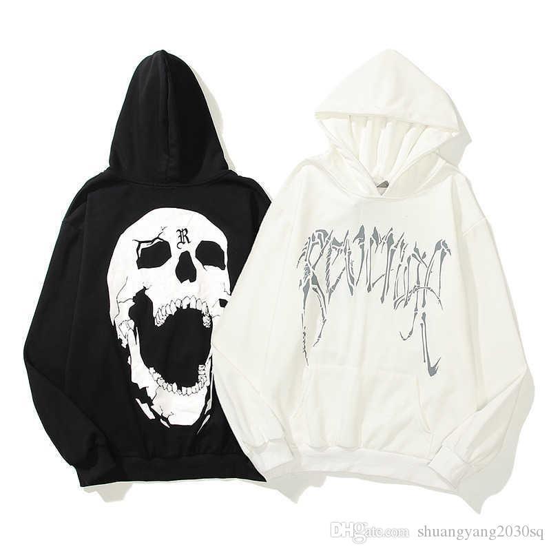 Felpe con cappuccio da uomo Autunno inverno High Street Hip-Hop Cracked Skeleton Letter Pattern Pattern PULLOVER Felpe