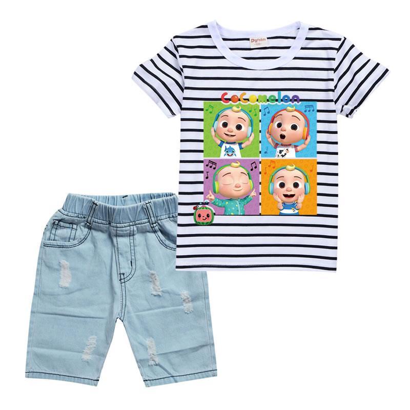 Estate cocomelon outfit per baby boy denim set vestiti moda ragazzo cartoon t-shirt a righe top + pantaloncini in denim pantaloni 2pc vestito per bambini