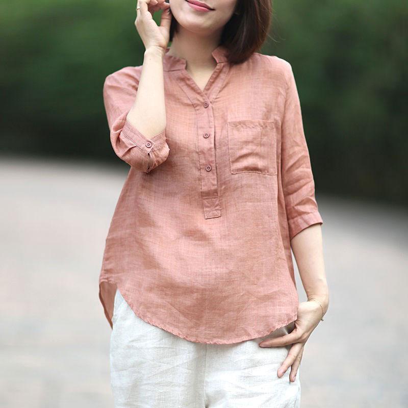 FJE Yaz Tarzı Kadın Gömlek Artı Boyutu Yarım Kollu Gevşek Rahat V Yaka Bluzlar Femme Pamuk Keten Vintage Bluz Cyk1 Kadın Gömlek Tops