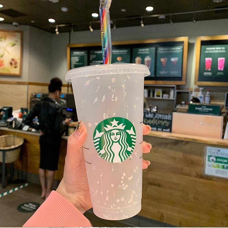 Starbucks Cups 24oz 710ml 및 16oz 473ml 머그컵 플라스틱 텀블러 재사용 가능한 클리어 마시는 평면 바닥 컵 맞춤형 로고 20 온스