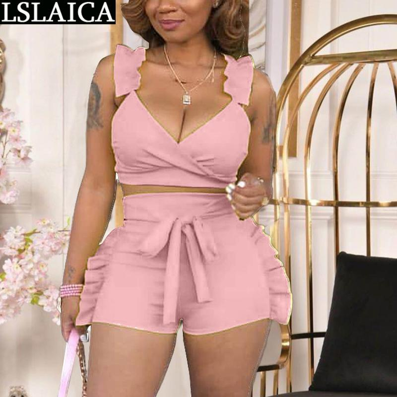Set Women Solid Color Strapless Top&skirt Bandage Slim Elegant 2 Piece Fashion Ruffled Hollow Out Sexy Club Skirt For Women's Tracksuits