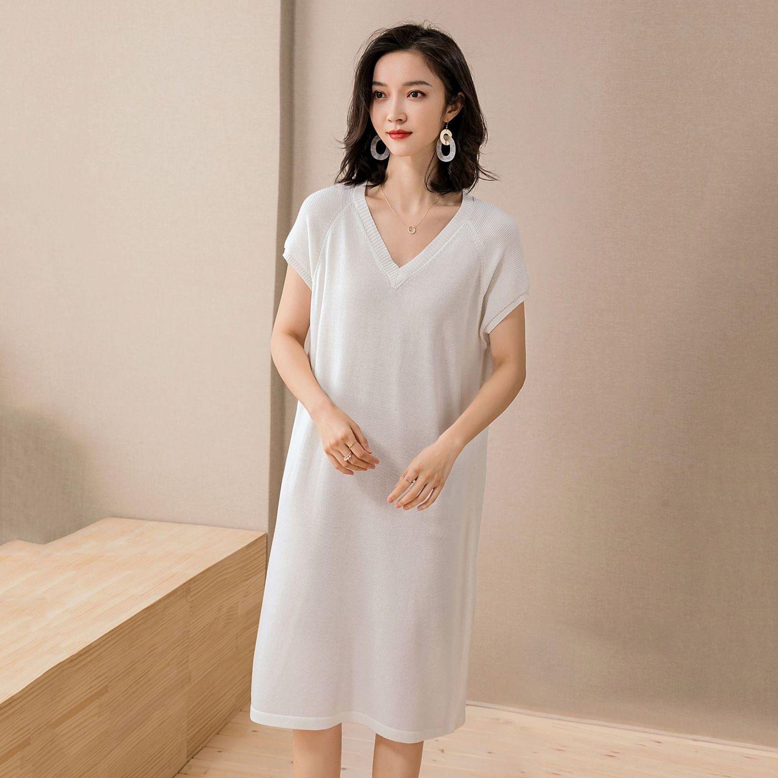 2021 Primavera y verano vestidos coreanos de ocio manga corta de algodón cáñamo de algodón perezoso de color contraste de color de viento de longitud de longitud de punto