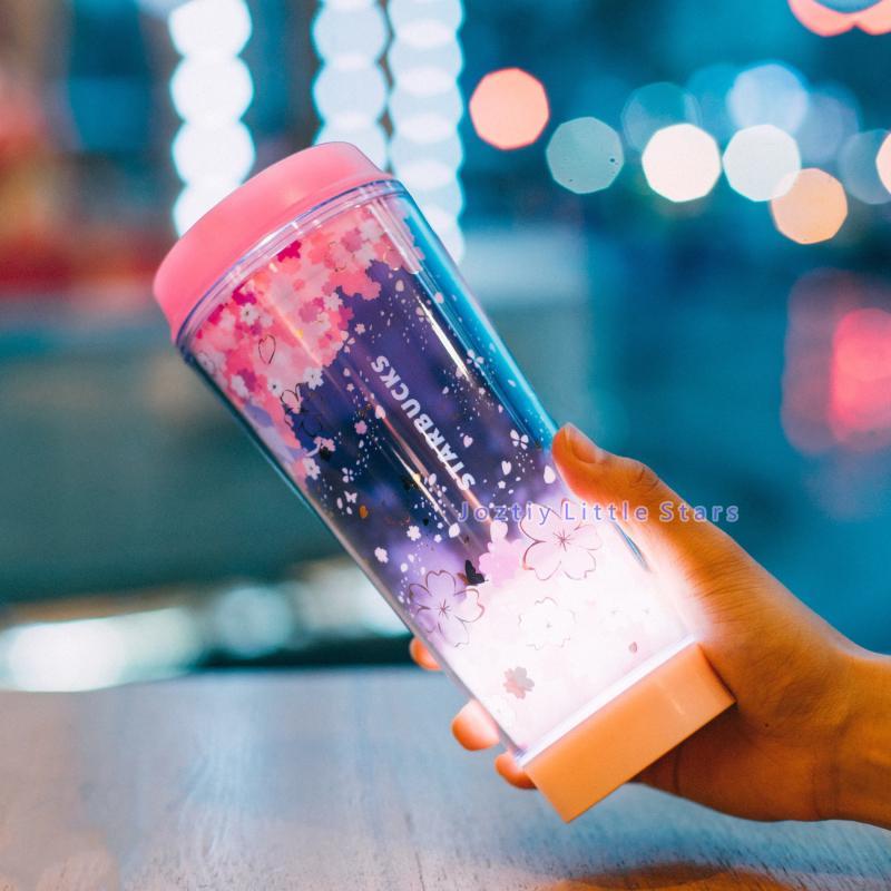일본식 스타 벅스 커피 머그잔 벚꽃 비행 LED 사쿠라 핑크 램프 컵 473ml
