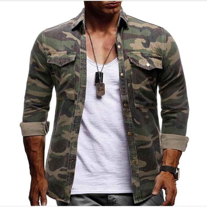 패션 남성 / 청소년 코튼 옷깃 위장 싱글 브레스트 포켓 긴 소매 셔츠 스트리트웨어 힙합 캐주얼 슬림 블라우스 M-3XL 남자 셔츠