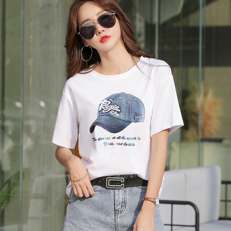 2021 Moda coreana de verano Ropa de mujer suelta amarilla manga corta camiseta femenina estudiantes