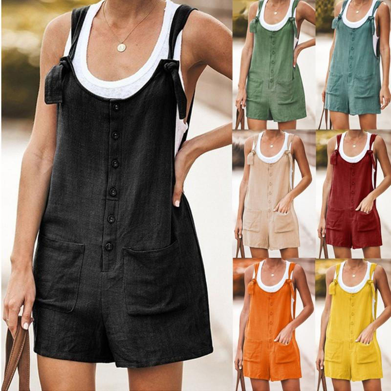 2021 Womens Solid Color Stickers Pocket Cotton and Linen Straps Jumpsuit European American