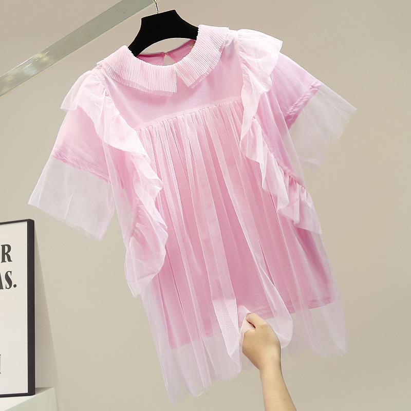 Mode Nouvelle Design Patchwork Volants Mesh O Couleur Solide Casual Summer T-shirts Femmes 210421
