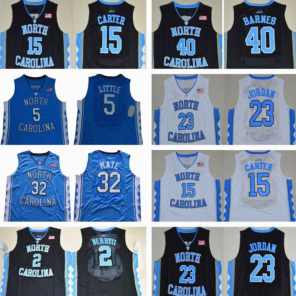 كرة السلة جيرسي 5 ناصر ليتل كارتر 32 لوك ماي نورث كارولينا القطران الكعوب مايكل كلية بارنز فينس مونج الأزرق الأسود الفانيلة قميص