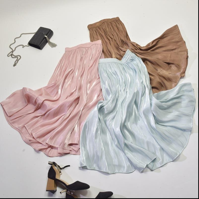 Faldas de las mujeres Pleated Maxi Falda Tendencia Moda Vintage Shinny Solid Girls High Cintura Playa Larga Seda Pleat Midi