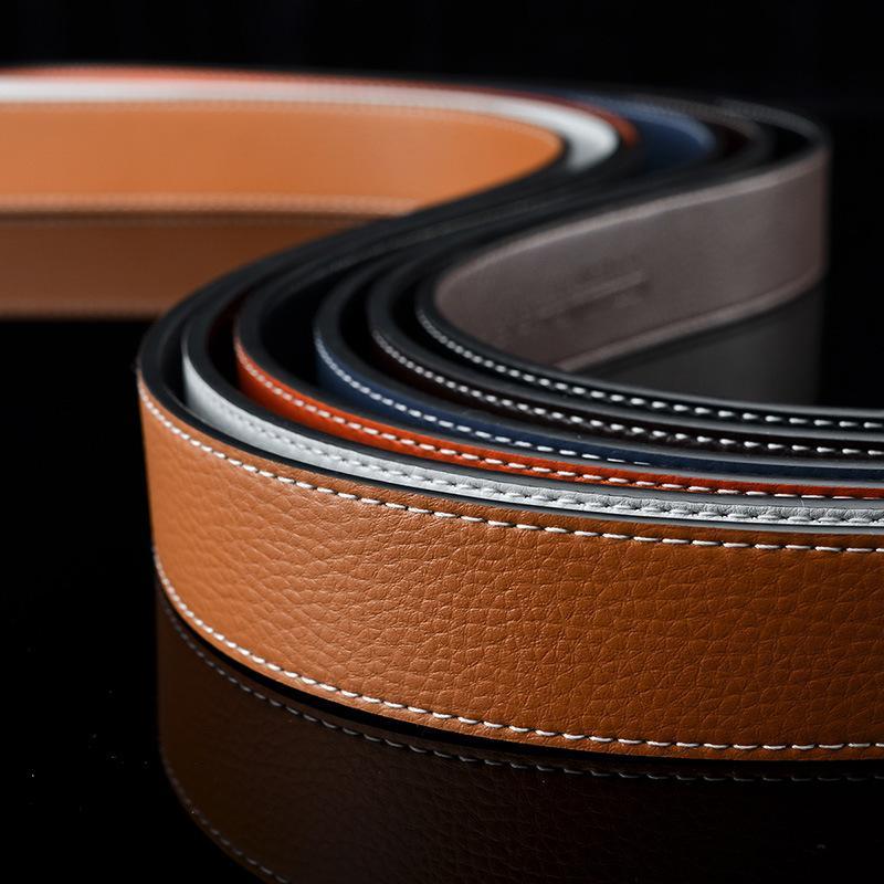 Moda per uomo per uomo donna casual liscio fibbia ribalta fibbia cinghie genuine vacchetta 7 colori altamente qualità con scatola arancione 56 123
