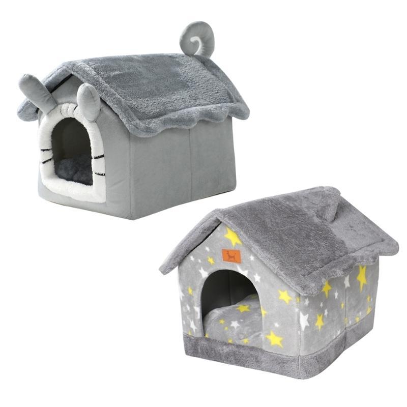قابل للغسل كلب دافئ الحيوانات الأليفة السرير الشتاء الدافئ كهف عش تيدي جرو النوم السرير للقطط والكلاب جميع مواسم العالمي الحيوانات الأليفة 210401