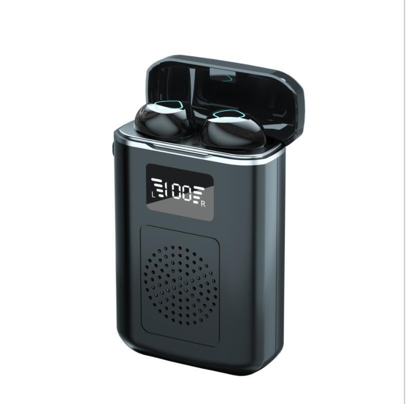 M6 TWS 블루투스 이어폰 스피커 무선 Binaural 스포츠 이어 버드 디지털 디스플레이 영어 3D 터치 헤드폰 게임 헤드셋