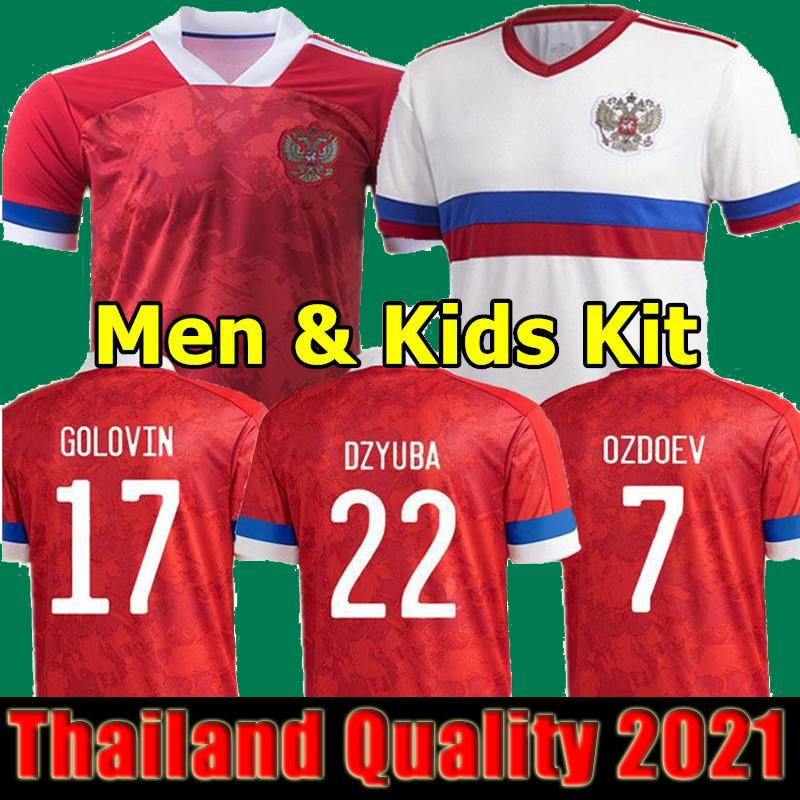 2021 2022 Rusia Jerseys de fútbol Men + Kids Home Alojamiento 21 22 Arshavin Miranchuk Zhirchov Erokhin Kombarov Smolov Camisa de fútbol Kit