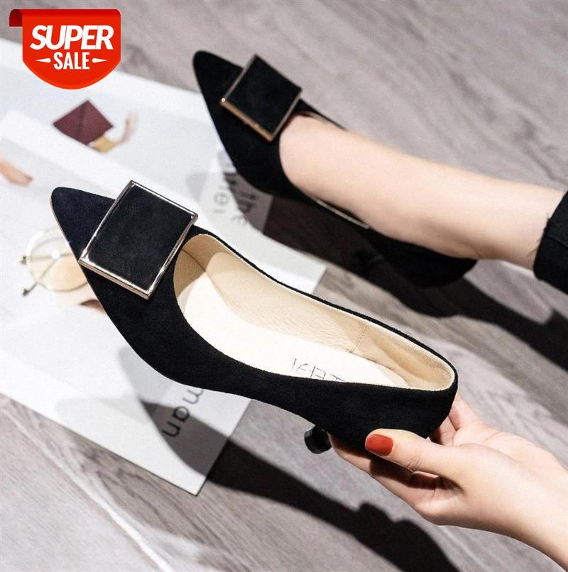 Suede Heel Fashion Women High Shoes Metal Pointed Toe Girls Party Wedding Spring Pumps Heels #Iv7G
