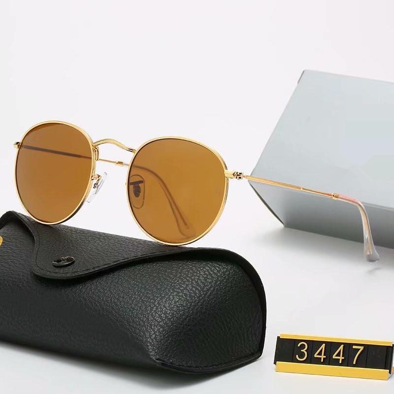 3447 Classico Occhiali da sole rotondi Mens Donne Specchio Occhiali da sole Design del marchio Design UV400 Eyewear Metallo Gold Frame Occhiali da sole Polaroid Lente in vetro Polaroid