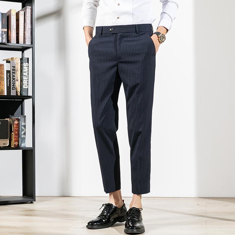Pantalon de costume rayé pour hommes Business Casual Chevle Longueur Pantalon Haute Qualité Hommes Vêtements Mode Slim Fit Pantalon Homme Classique Costumes Blaz
