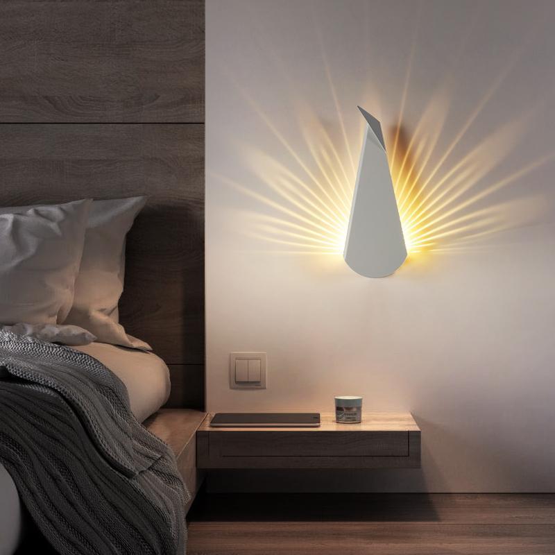 Weiß Morden Metall LED Wandleuchte Europäischen Stil Nachttischlampe Dekorationen Minimalistische Lampe De Chevet Decor BK50BD