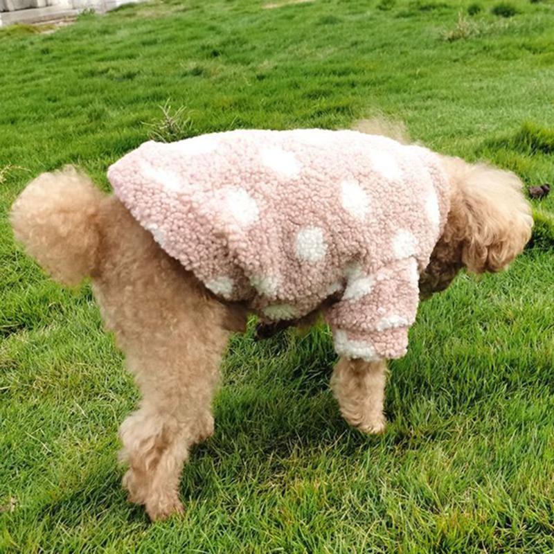 Dog Apparel Dot Pet Cardigan Pashmina Clothing Two-legged Cat Coat Warm Schnauzer Clothes Pomeranian Outwear Teddy Knitwear Winter Gown