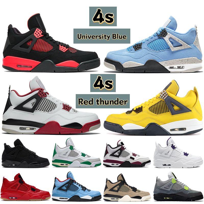 Los hombres los zapatos de baloncesto de 4s Gris frío Trueno Blanco Cactus Jack Bred las zapatillas de deporte de diseño puro monetario de alta calidad
