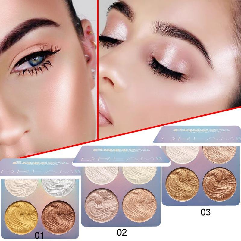 Cmaadu Bronzars Contour Highlight Palette Polvere Polvere Polvere Pearl Capacità di riparazione High Gloss Shadow 4 Colors