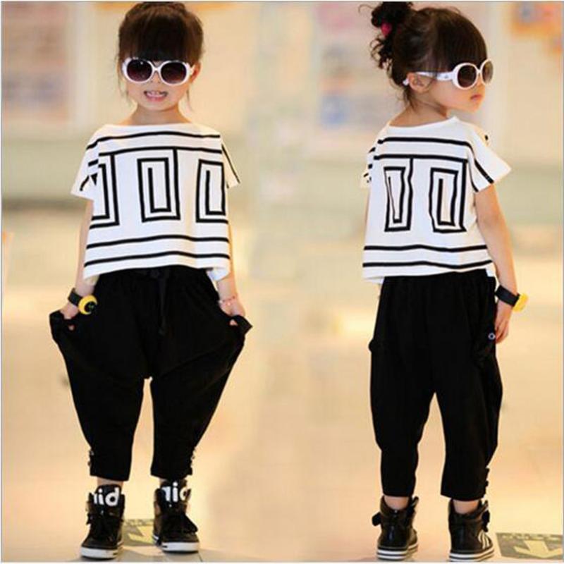 Casual Girl Clothes Set Summer Conjuntos Infantis Menina 2pcs T-Shirts And Harem Pants Vetement Fille Kids For Clothing Sets