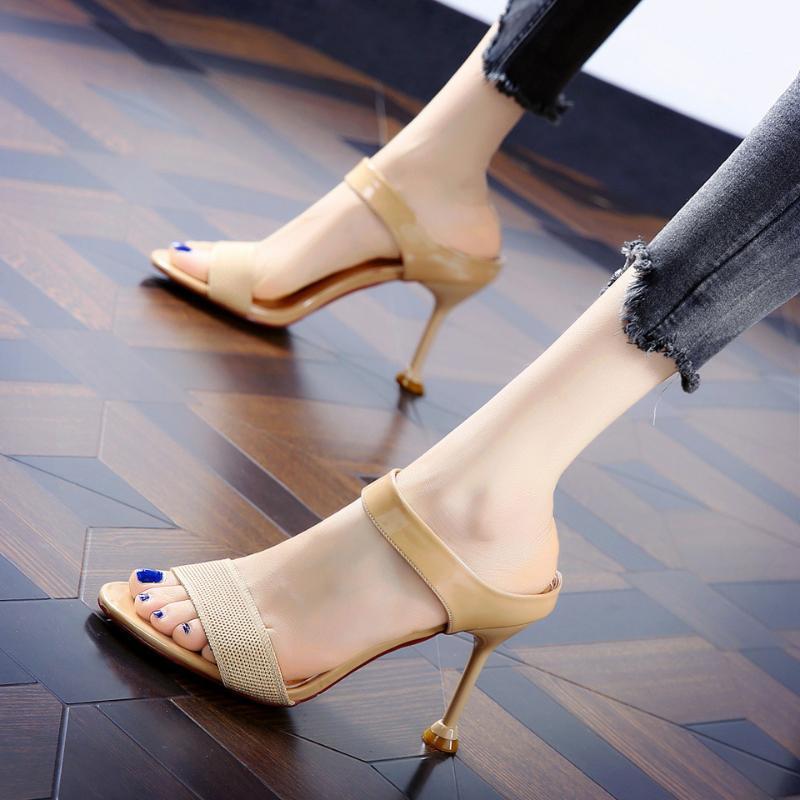Yaz Pompaları Seksi Saf Renk Terlik Sandalet Ayakkabı Kadın Ince Yüksek Topuklu Sivri Burun Sandal Bayan Pompa Katırları Elbise