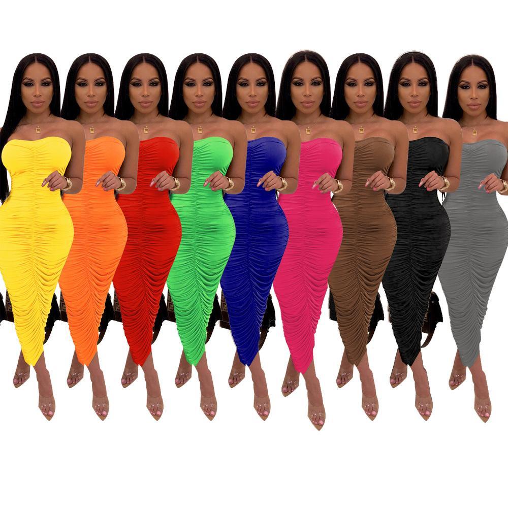 2021 летние женские платья Ruched Sundress Sean Handse Sexty Body-формирование лодыжки длина лодыжки плиссированные платья элегантность твердой партии клубная одежда халат